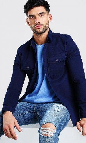 Темно-синя чоловіча тепла сорочка