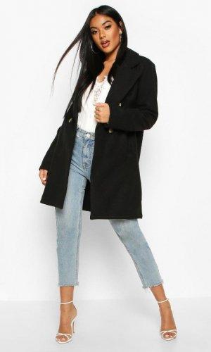 Чорне кашемірове пальто на ґудзиках