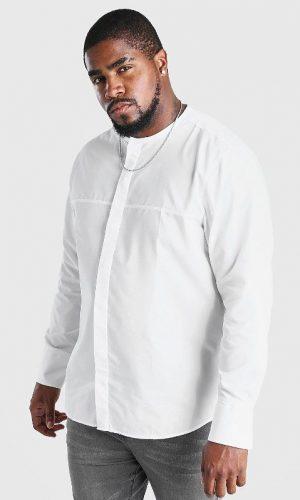 Біла сорочка без коміра з довгим рукавом