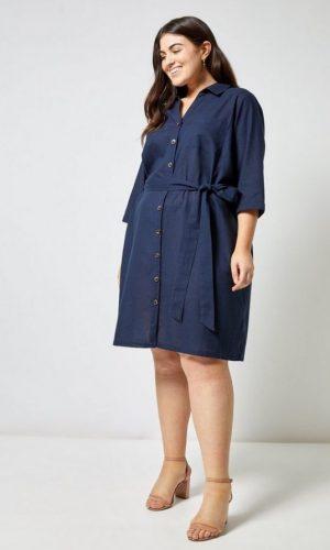 Синя сукня-сорочка з поясом