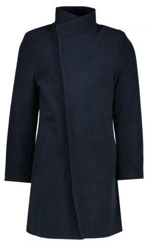 Темно-синє довге пальто з коміром-стійкою