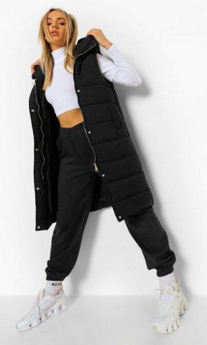 Жіноча довга жилетка без рукавів чорного кольору